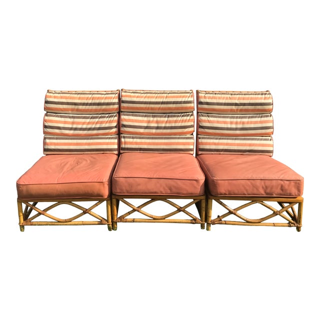 Vintage Mid Century Ficks Reed Patio Outdoor Bentwood Bamboo Sofa, 3 Pieces For Sale