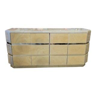 Retro Two Piece Goatskin Cabinet For Sale