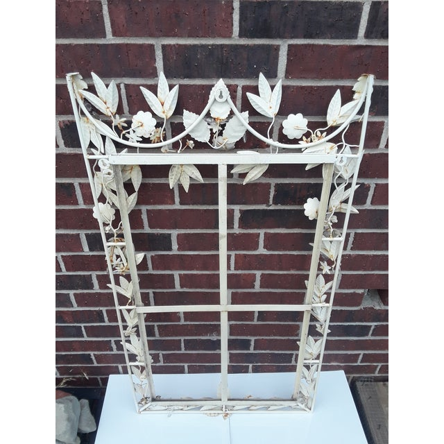 1970s White Tole Picture or Mirror Metal Frame With Flowers, Leaves and Crystals For Sale - Image 5 of 9