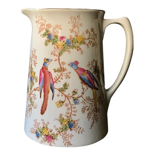 1920s Crown Ducal English Ceramic Pitcher With Pheasants For Sale
