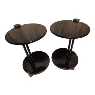 1980s Contemporary Black Lacquered Cantilevered Cocktail Side Tables - a Pair For Sale