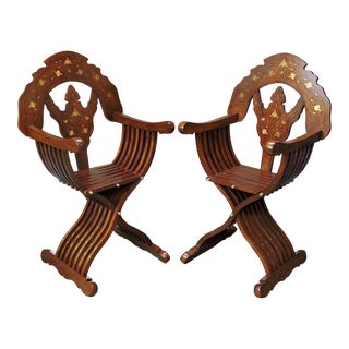 Magnificent Persian Savonarola Folding Solid Rosewood, Brass & Copper Inlayed Arm Chairs - a Pair For Sale