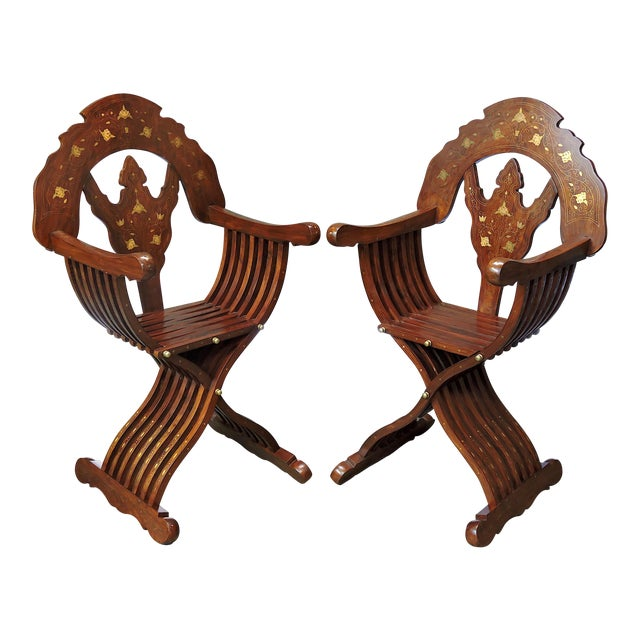 Magnificent Persian Savonarola Folding Solid Rosewood, Brass & Copper Inlayed Armchairs - a Pair For Sale