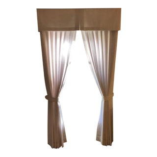 Custom Designed White Linen Curtains and Valances - 12 Pieces For Sale