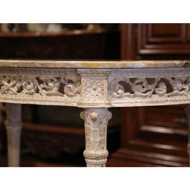 White Pair of 19th Century Louis XVI Carved Painted Demilune Consoles With Marble Top For Sale - Image 8 of 10