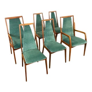 Walnut Dining Chairs With Sea Glass Green Velvet Upholstery - Set of 6