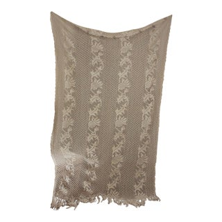 "1920s Vintage French Filet Handmade Crochet Lace Throw Blanket W/ Fringe - 52"" X 77"" For Sale"