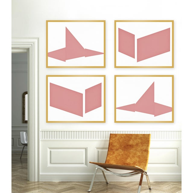 "Set of 4 giclée prints on textured fine art paper with gold frames. Set of 4 measures 60"" x 48""; individual framed print..."