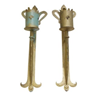 Wrought Iron Gothic Torch Wall Sconces - A Pair For Sale