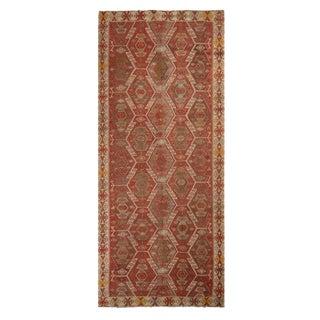 Vintage Kayseri Russet Red and Beige Wool Kilim Rug For Sale