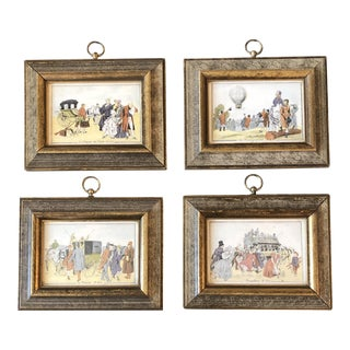Gallery Wall Collection 4 Miniature French Vintage Prints Carriage & Balooning For Sale