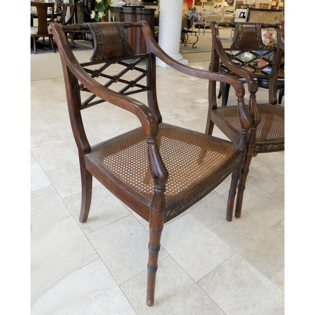1990s John Richard Traditional Cane Seat Regency Armchairs- a Pair For Sale - Image 5 of 13