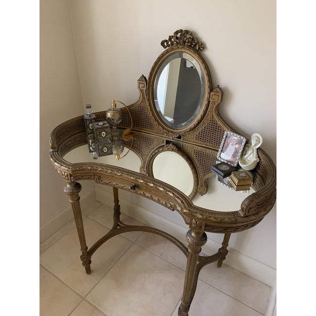 Gold 19th Century Italian Gilded Vanity With Curved Oval Mirror For Sale - Image 8 of 11