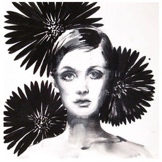 Twiggy With Flowers in Black Painting by Gretchen Kelly For Sale