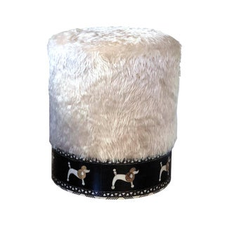 Mother of Pearl Inlaid Poodle Faux Fur Round Stool For Sale