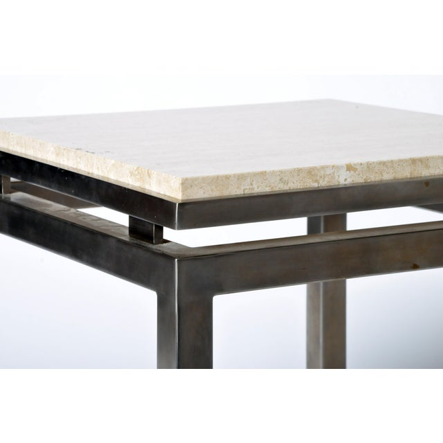 Early 20th Century Pair of Two-Tier Travertine Side Tables in the Style of Guy Lefevre For Maison Jansen For Sale - Image 5 of 11