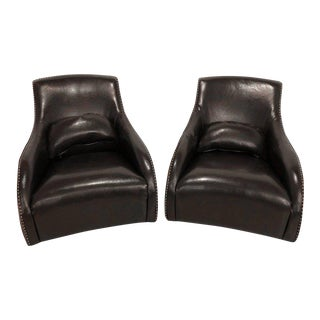 Mid Century Modern Style Fine Leather Rocking Chairs - a Pair For Sale