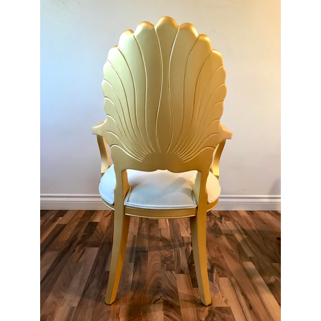 Mid Century Hollywood Regency Venetian Grotto Shell Gold Carved Arm Chairs- Set 6 For Sale In Los Angeles - Image 6 of 12