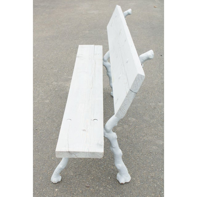 Early 20th Century Quality Cast Iron Faux Bois Garden Park Bench For Sale - Image 5 of 13