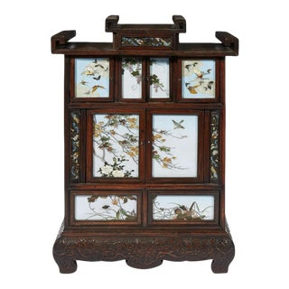 Japanese Table Cabinet with Cloisonne Panels Attributed to Namikawa Sosuke For Sale