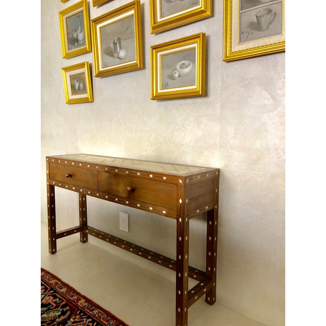 Contemporary Contemporary Mother of Pearl Inlay Console Table With Marble Top For Sale - Image 3 of 12