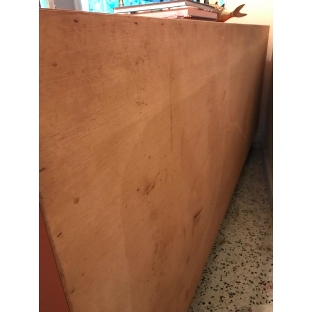 1970s Chinoiserie Chic Orange Cabinet & Drawers Credenza Sideboard For Sale - Image 5 of 11
