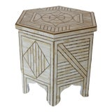 Image of White Bone & Brass Side Table For Sale