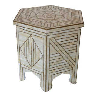 White Bone & Brass Side Table For Sale