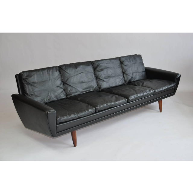 Danish Leather Sofa With Rosewood Legs For Sale - Image 4 of 11