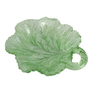 1920s Green Leaf Serving Plate For Sale