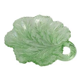 1920s Green Leaf Serving Plate