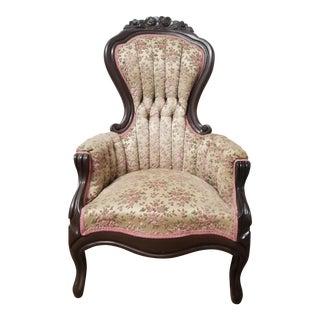 Antique Victorian Pink Floral Slipper Chair - Vintage Velvet French Provincial Ladies Chair