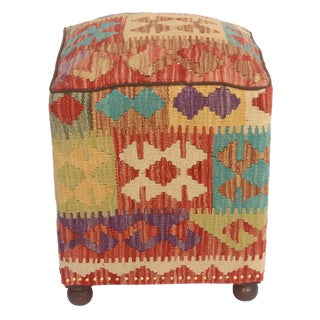 Claudett Rust/Brown Kilim Upholstered Handmade Ottoman