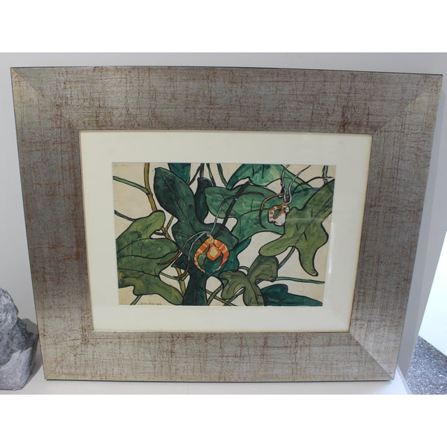 """Contemporary Vintage Jane Peterson Watercolor Painting """"Spider Orchid"""" For Sale - Image 3 of 13"""
