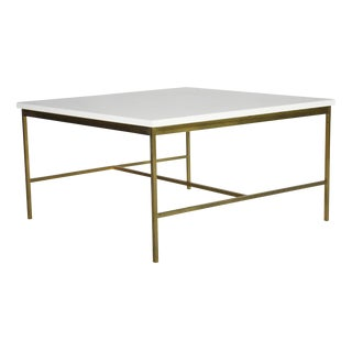 Paul McCobb Brass and Vitrolite Cocktail Table For Sale