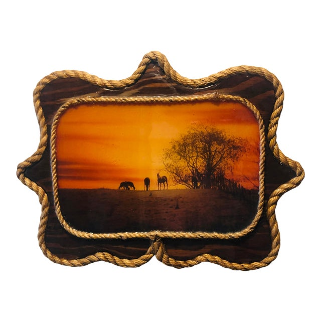 1970s Vintage Resin Cowboy Wooden Picture For Sale