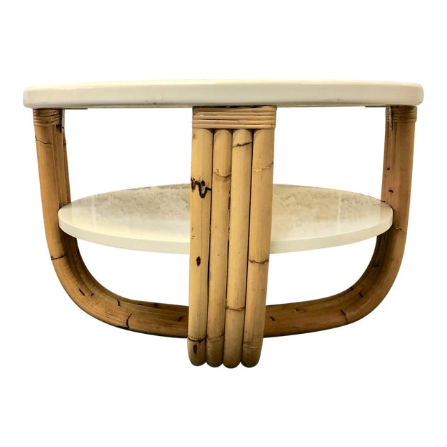 Wood and Bamboo Round Side Table For Sale
