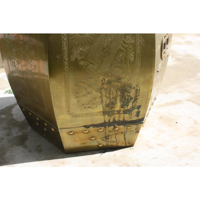 Gold Vintage 70s Chinese Chinoiserie Style Brass Hexagonal Garden Seat / Stool / Side Table W/Glass Top For Sale - Image 8 of 13