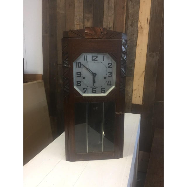 19th Century Antique French Tall Oak Clock Case and Non Working Clock For Sale - Image 11 of 12