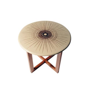 Design Technics Ceramic Discus Topped Occasional Table For Sale
