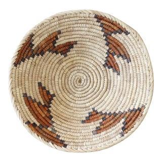 Vintage Woven Coil Basket Bowl Orange Brown Geometric Handmade