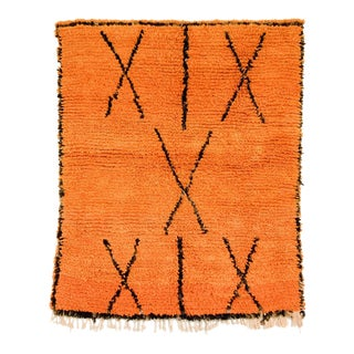 "Vintage Moroccan Orange Azilal Wool Floor Rug, 4'3"" x 5'0"" For Sale"