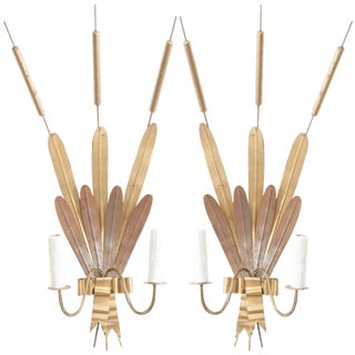 "French Vintage Gilt-Metal ""Cattail"" Sconces - a Pair For Sale"