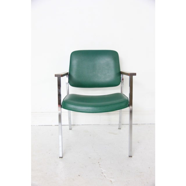 Vintage Mid-Century Industrial Green Vinyl Arm Chair - Image 2 of 6