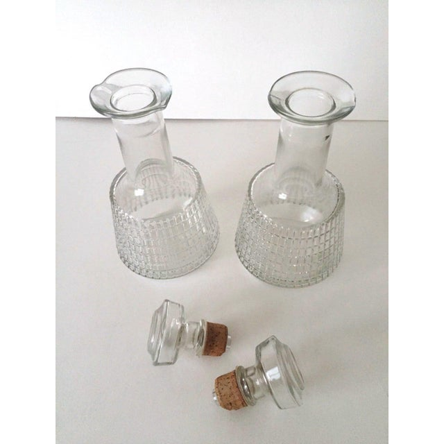 Various Artists Vintage Mid Century Modern Square Cut Glass Decanters - a Pair For Sale - Image 4 of 8