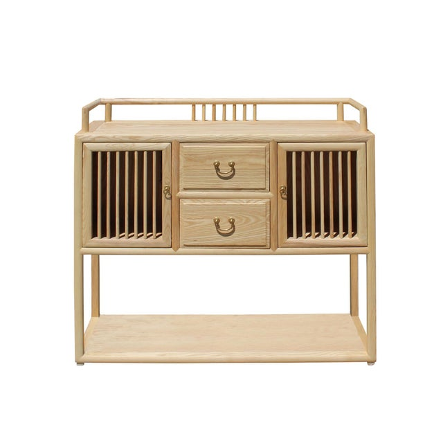 Chinese Raw Wood Open Display Storage Side Table Cabinet For Sale In San Francisco - Image 6 of 6