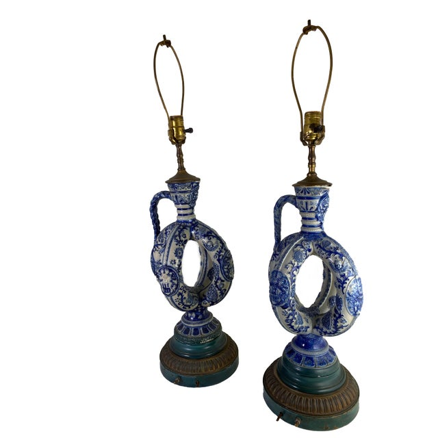 Cobalt Blue Salt Glazed German Double Ring Flask as Lamps - a Pair For Sale - Image 9 of 9