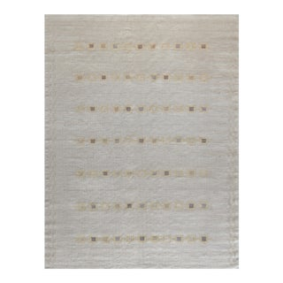 Swedish Kilim Inspired Hand-Woven Wool Rug For Sale