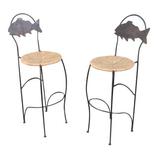 1990s Vintage Bar Stools- A Pair For Sale