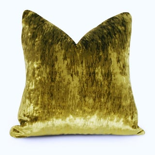 Flame Stitch Green Velvet Down Pillows - a Pair Preview
